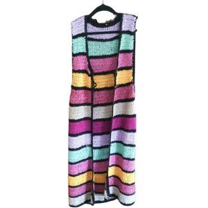 Vintage boho crochet long vest cover up kimono